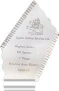 1st Place Lucas Indian Service Ltd. Highest Sales FIE Spares rishna Auto Electric Ahmedabad 2009-10