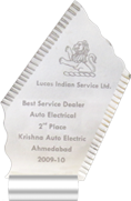 2nd Place Lucas Indian Service Ltd. Best Service Dealer Auto Electrical ishna Auto Electric Ahmedabad 2009-10