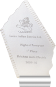 1st Place Lucas Indian Service Ltd. Highest Turnover Krishna Auto Electric Ahmedabad 2009-10